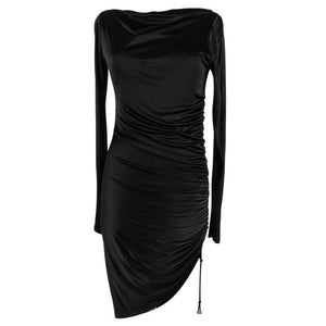 Versace Dress Black Side Drawstring Rouching Asymmetrical Length 44 / 8