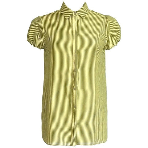 Versace Top Lean Cut Chic Yellow Brown Striped 42 / 8