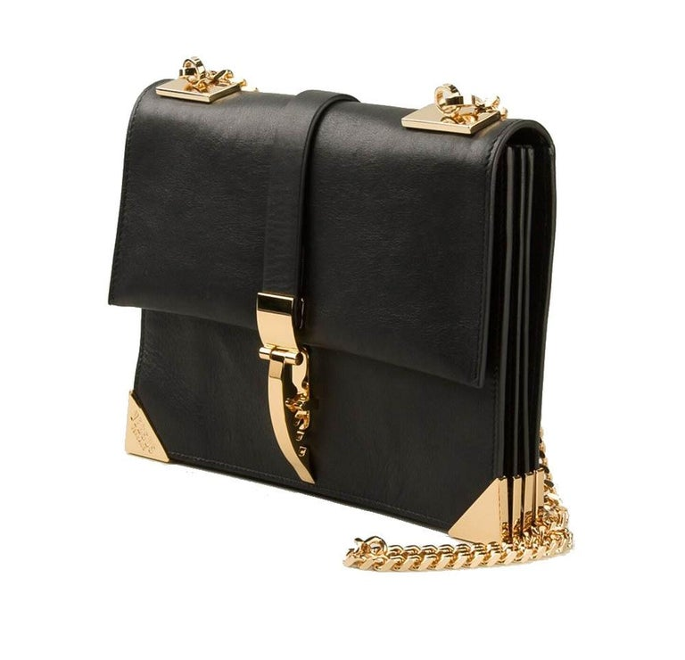 New Versace Versus x Anthony Vaccarello Black Leather Gold Chain Bag