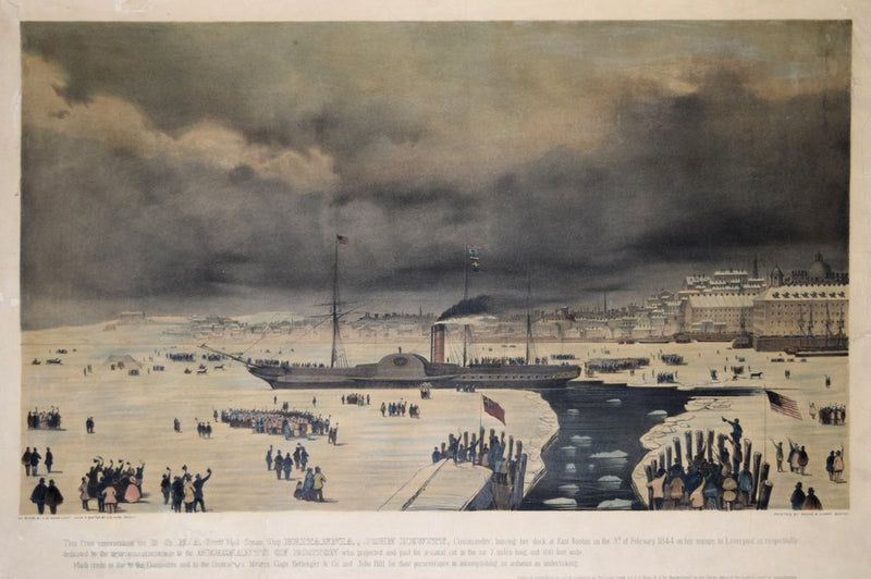 DE VAUDRICOURT, THE PRINT REPRESENTING THE B & N. A ROYAL MAIL STEAMSHIP BRITANNIA, JOHN NEWICK, COMMANDER LEAVING HER DOCK AT EAST BOSTON ON THE THIRD OF FEBRUARY 1844...