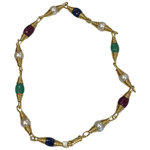 David Webb Pearls, Emerald, Ruby, Sapphires Necklace
