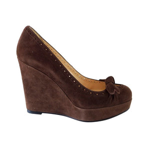Christian Louboutin Platform Wedge Brown Suede Shoe