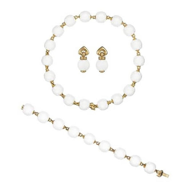 1990 Bulgari White Porcelain Gold Chandra Set