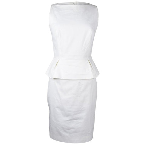Christian Dior Dress White Cotton Peplum 8 Mint