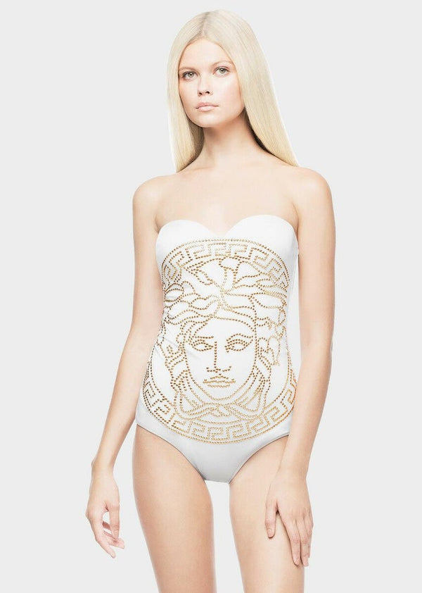 New Versace White One Piece Swimsuit with Gold Studded Medusa - Size 2