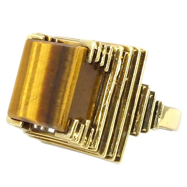 1970s Tiger Eye Gold Ring