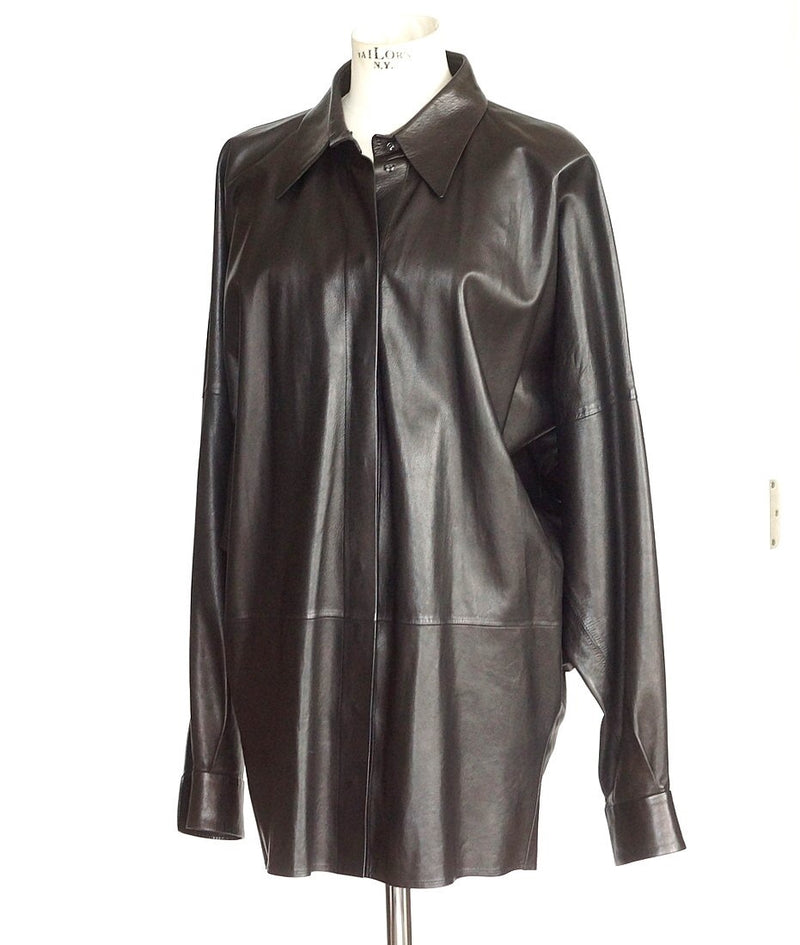 Yves Saint Laurent Vintage Supple Leather Long Shirt Superb Draping 44 / 10