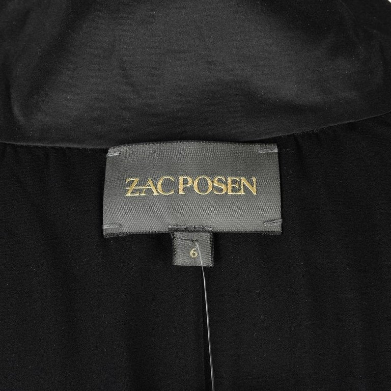 Zac Posen Top Stretch Black Ruched Detail Fitted 6 nwt