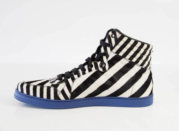 Gucci Men's Shoe Pony Stripe Black / White Blue Sole High Top Sneaker 9.5 G