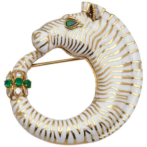 David Webb Zebra Brooch