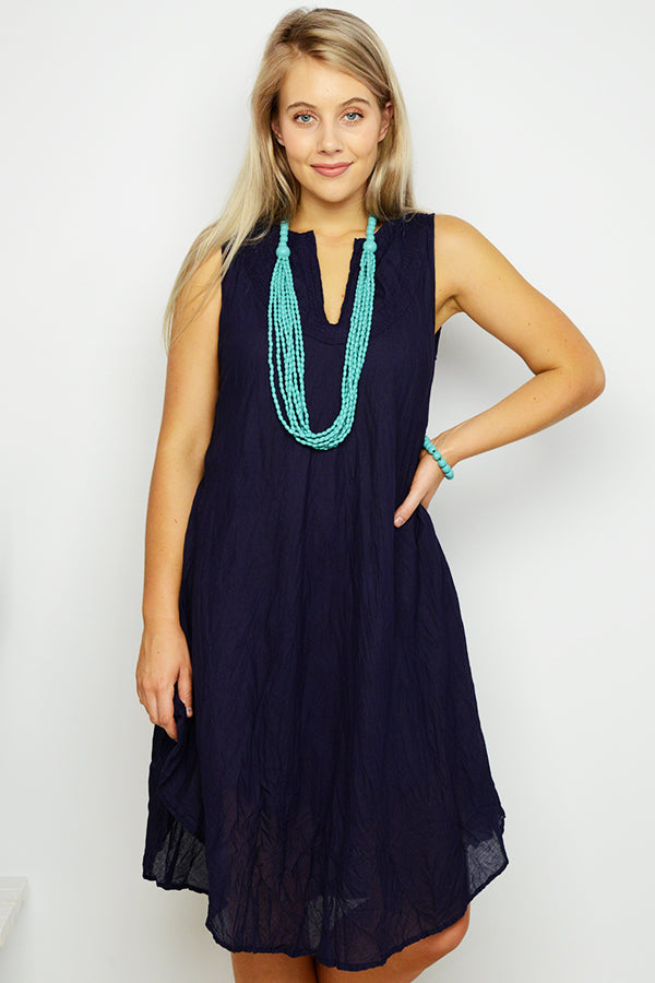 Navy Crinkle Cotton Tank Dress - Blue Bungalow