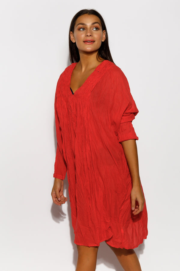 Red Cotton Pucker Dress - Namastai - Blue Bungalow Online