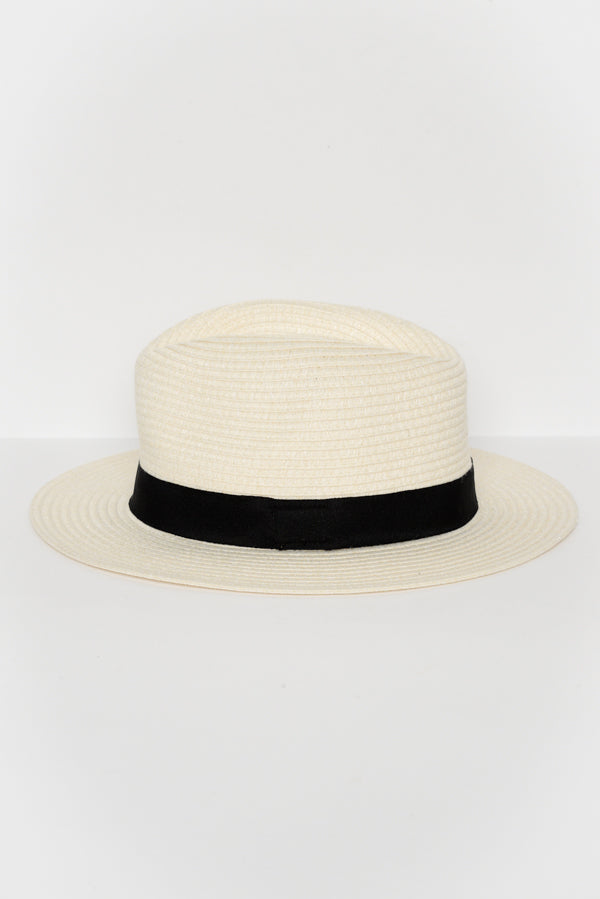 Ivory Wide Brim Travel Fedora - Blue Bungalow