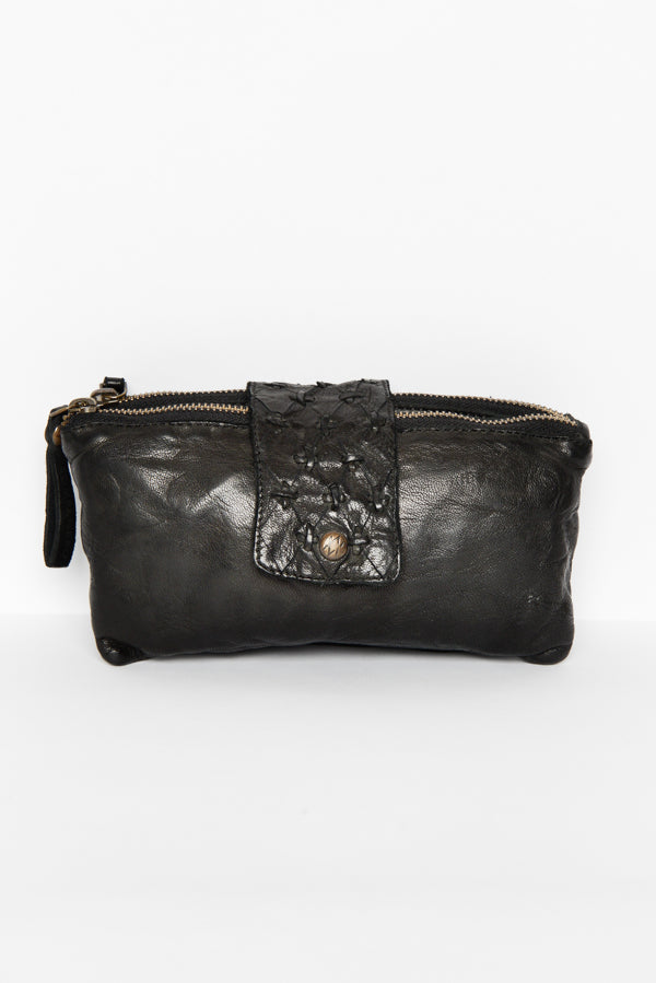 Black Poppy Leather Clutch - Kompanero - Blue Bungalow Online