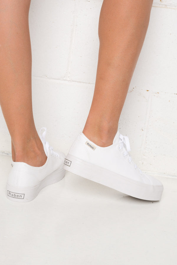Aya White Canvas Sneaker - Blue Bungalow ?id=6338914779193