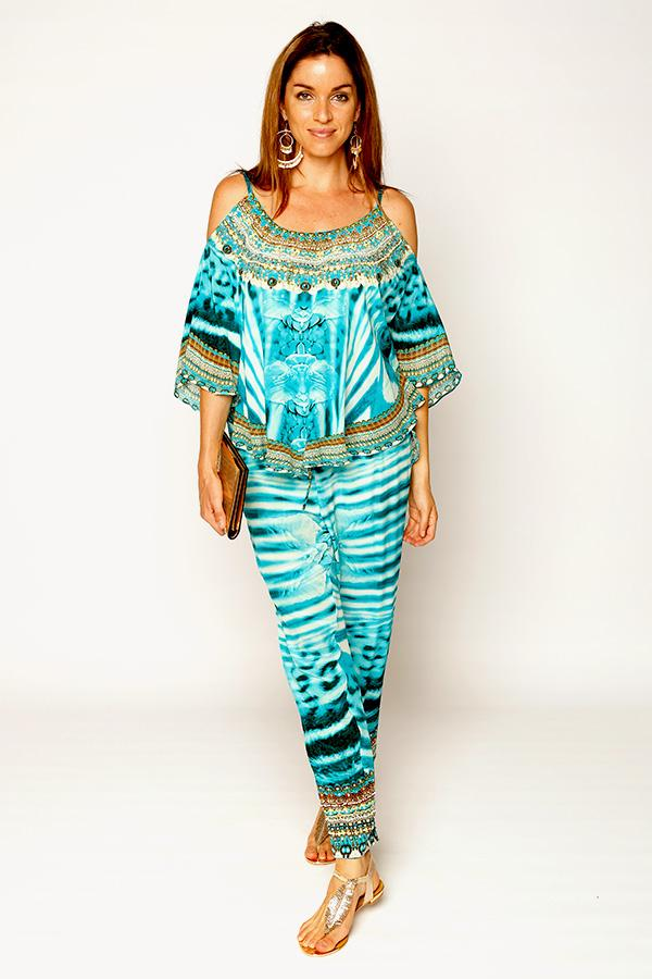 Aqua Mustique Silk Lounge Pants - Blue Bungalow