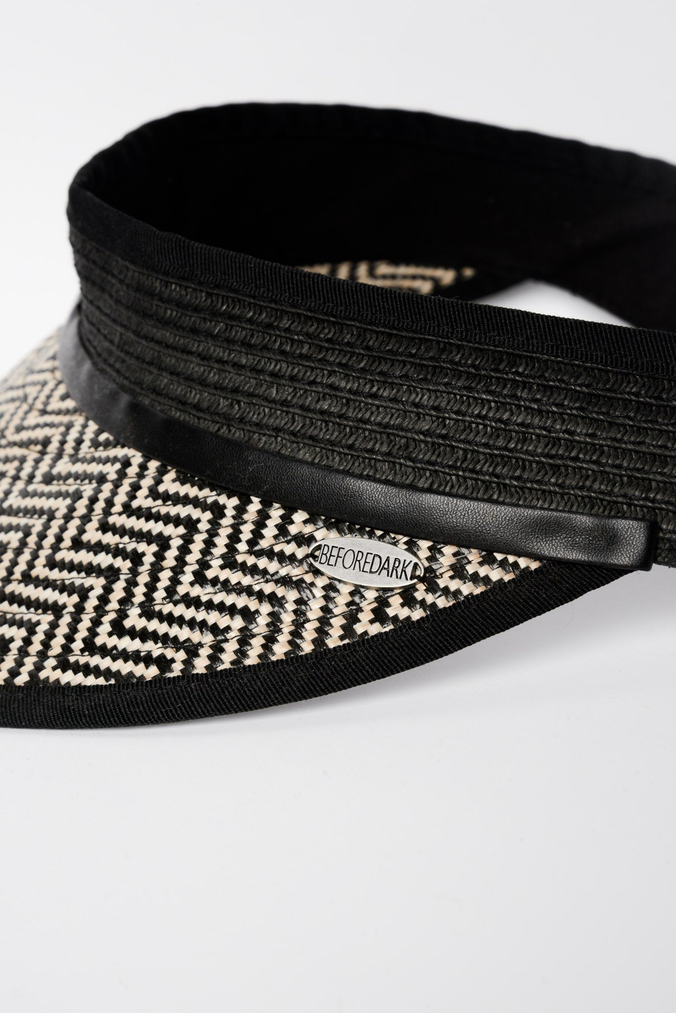 Black Herringbone Visor - vendor-unknown - Blue Bungalow Online