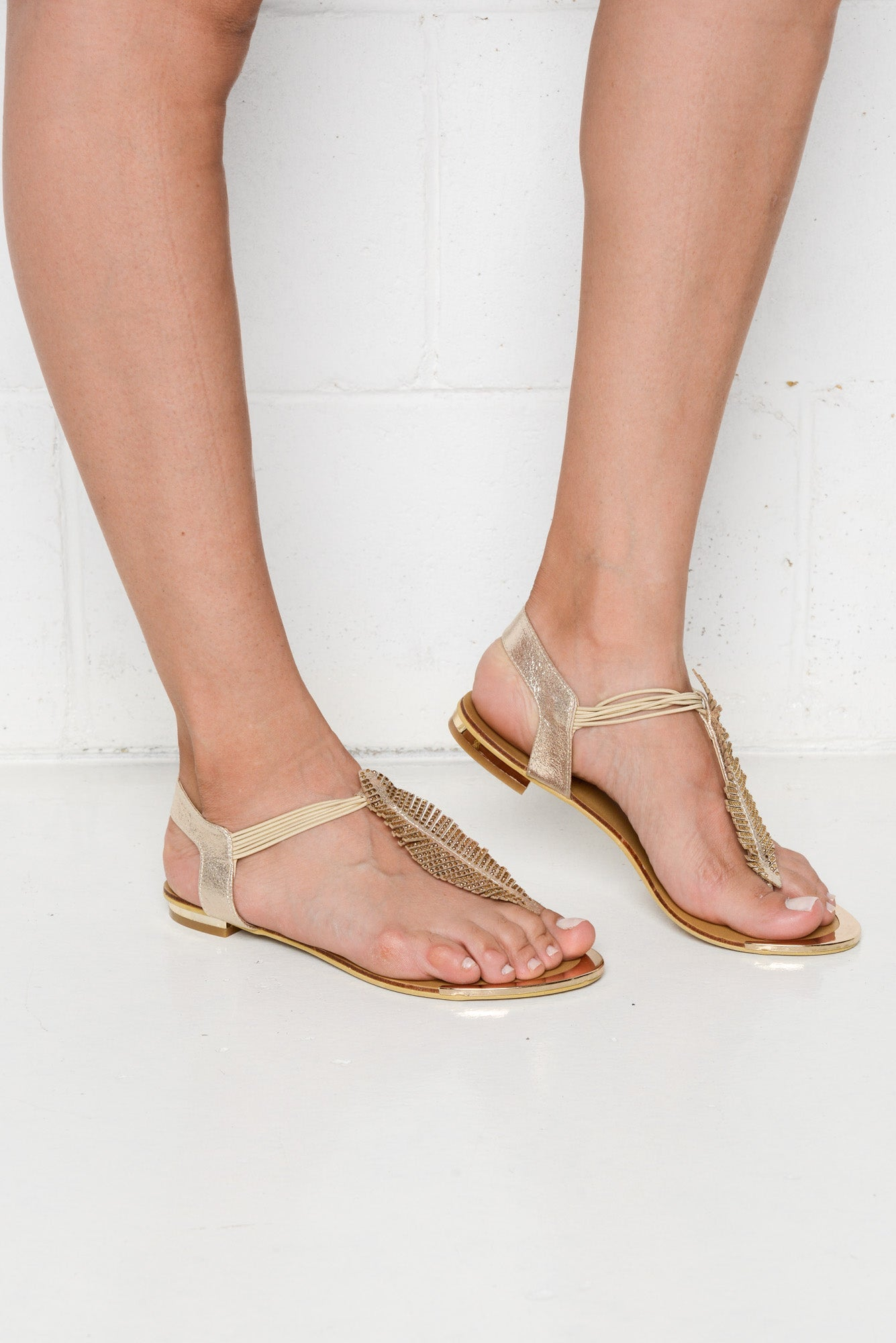 Gold Autumn Leaf Sandal - Laguna Quays - Blue Bungalow Online