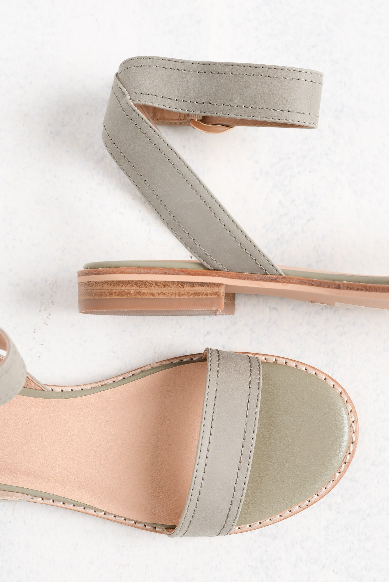 Athena Sage Green Leather Sandal