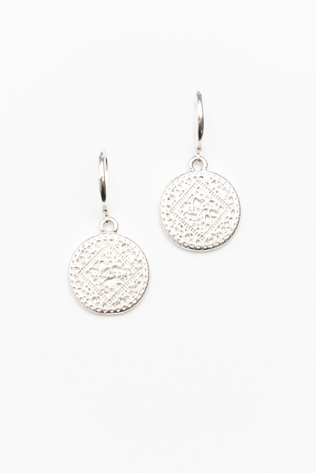 Silver Patterned Disc Earring