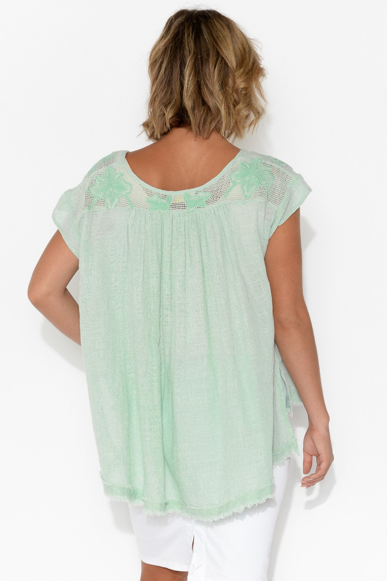 Abbey Aqua Embroidered Cotton Top