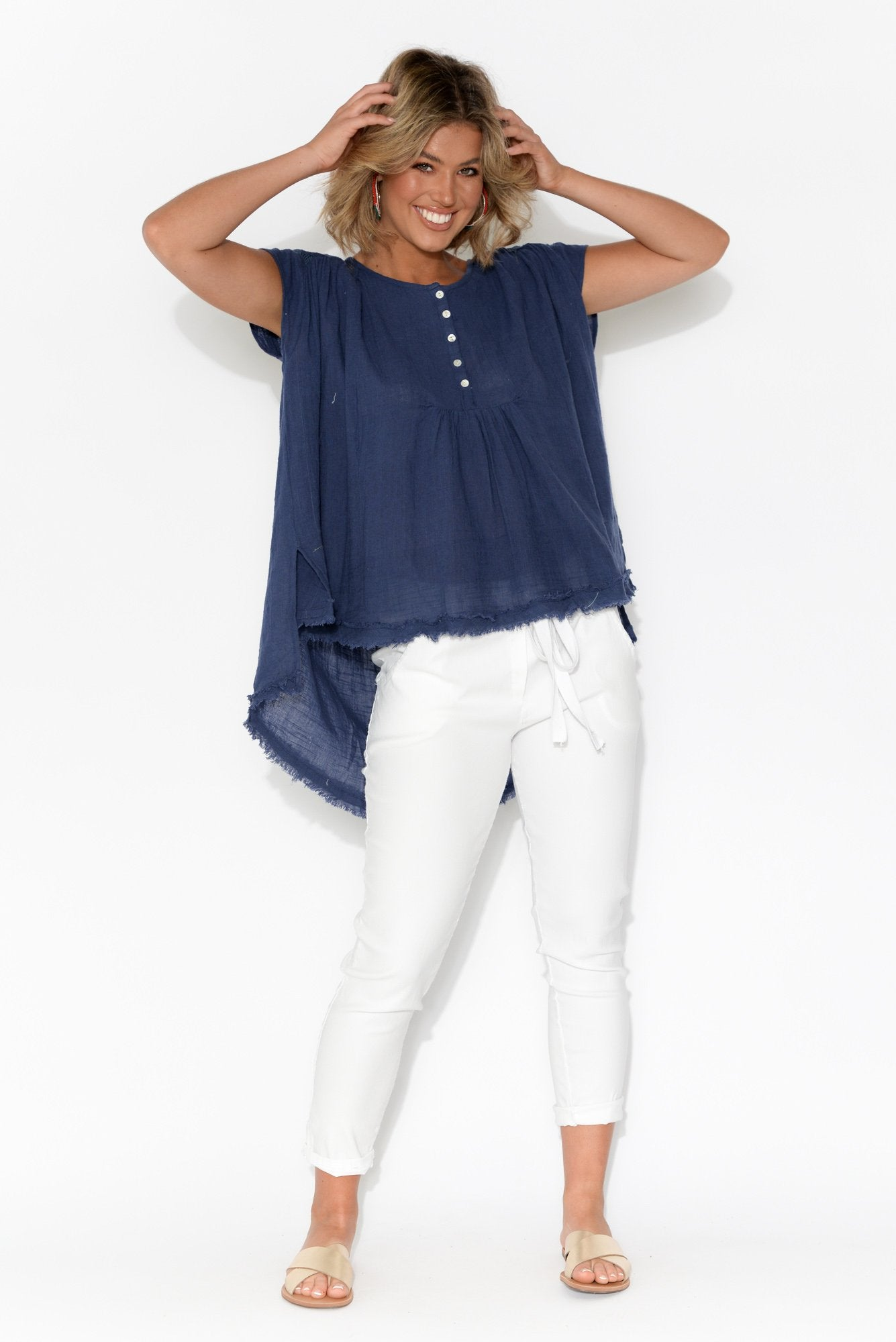 Abbey Navy Embroidered Cotton Top