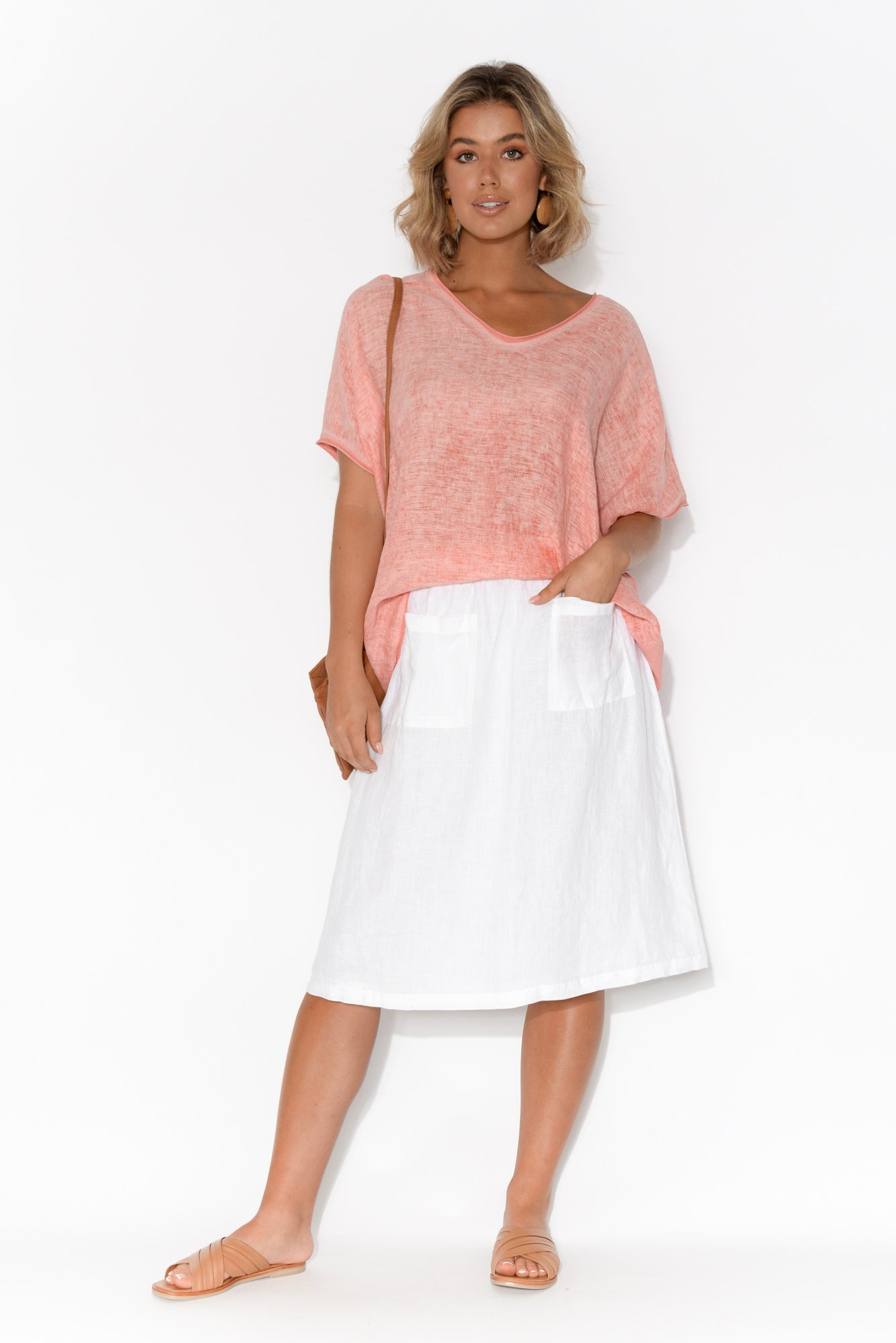 Abbi Pink Cotton Linen Top