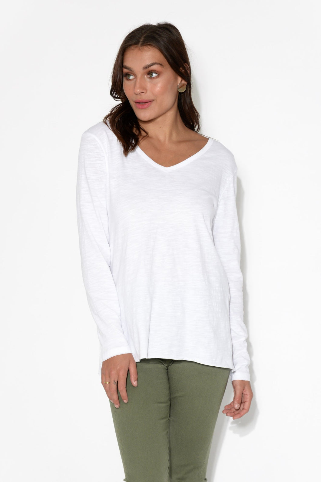 Abigale White Long Sleeve Cotton Top