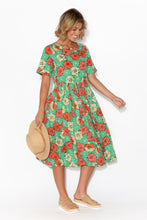 Abriana Green Hibiscus Sleeved Dress