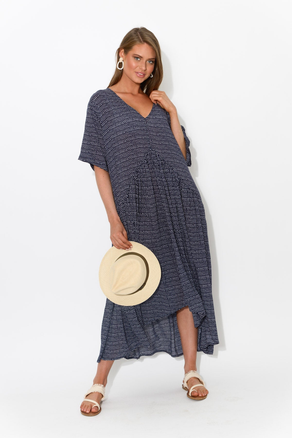 Ada Navy Dash Gather Dress - Blue Bungalow