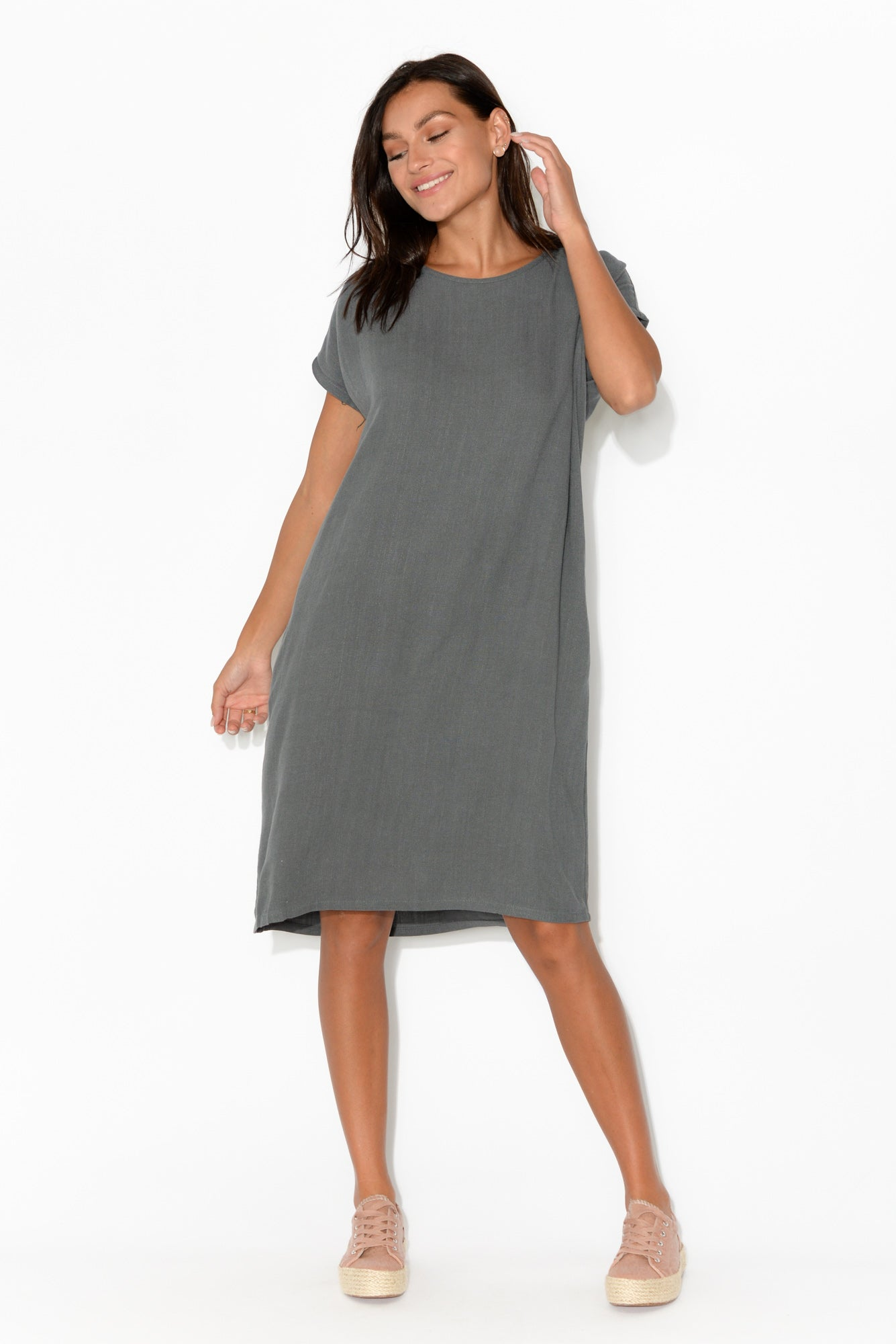 Aiden Charcoal Pocket Tee Dress