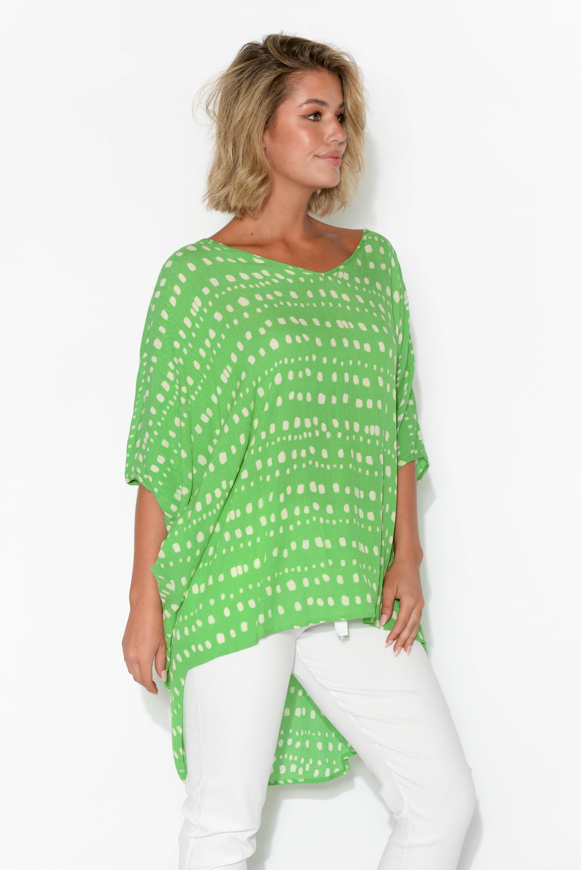 Aiden Green Abstract Check Batwing Top