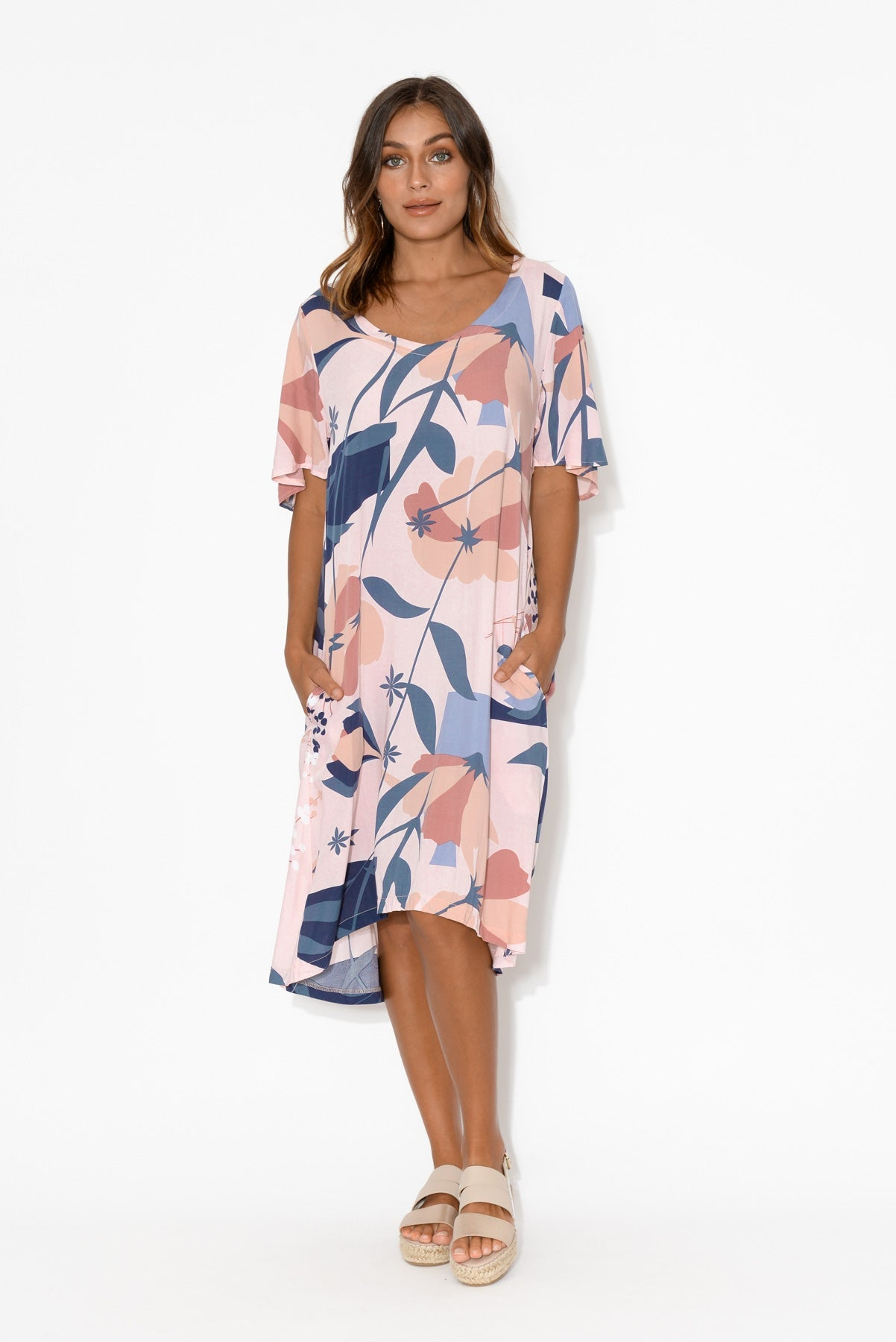 Ainsley Pink Floral Swing Dress