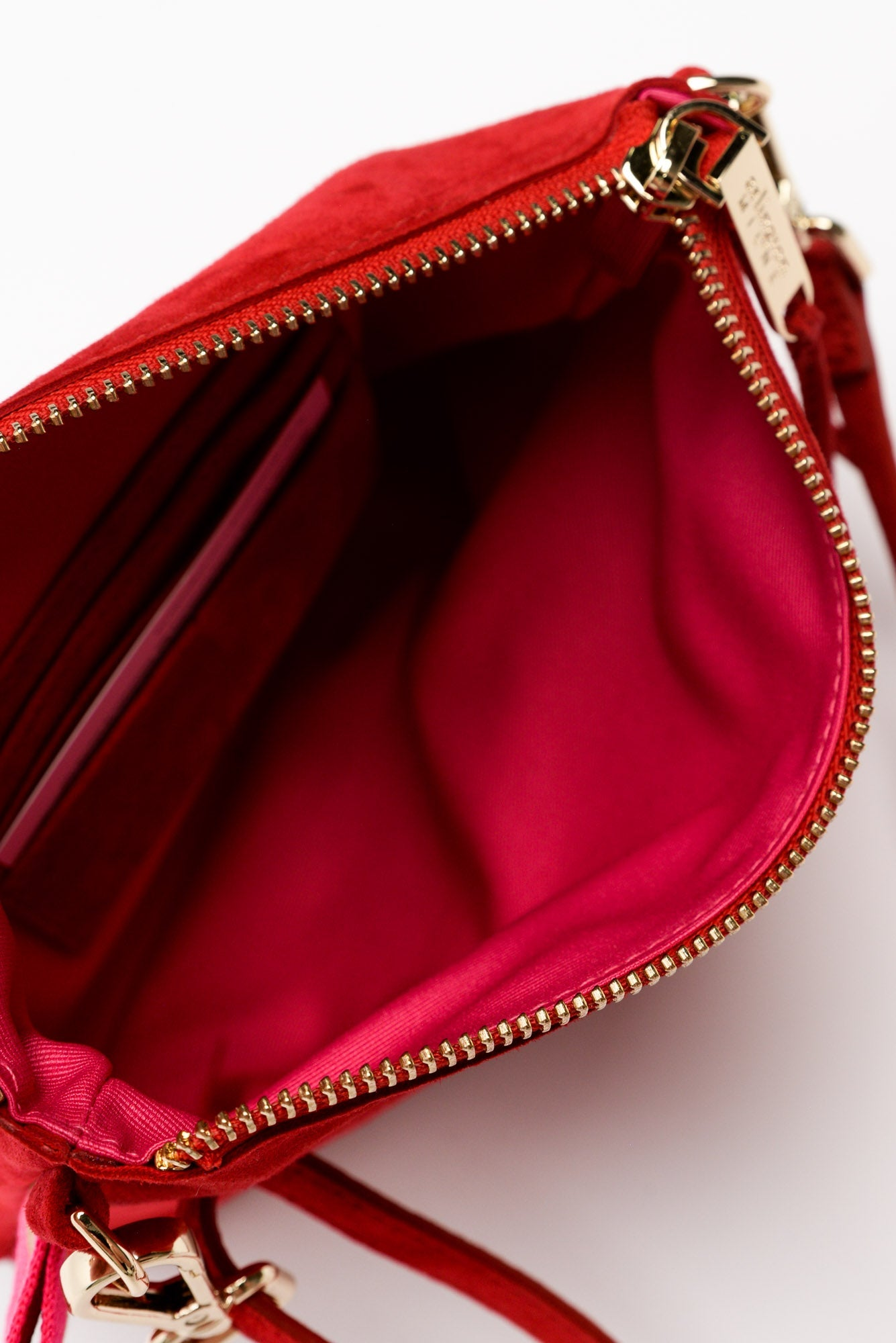 Alexis Cherry Suede Crossbody Bag