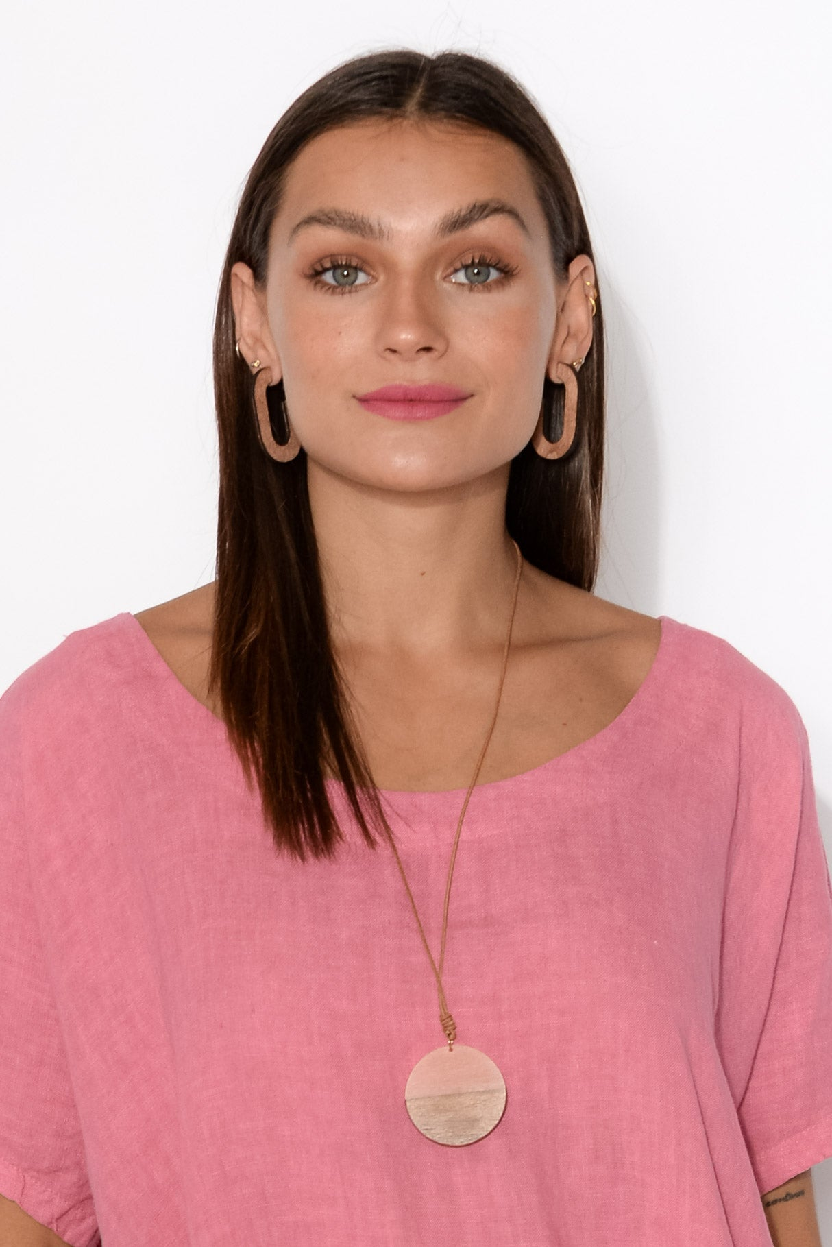 Anthea Pink Wooden Disc Necklace