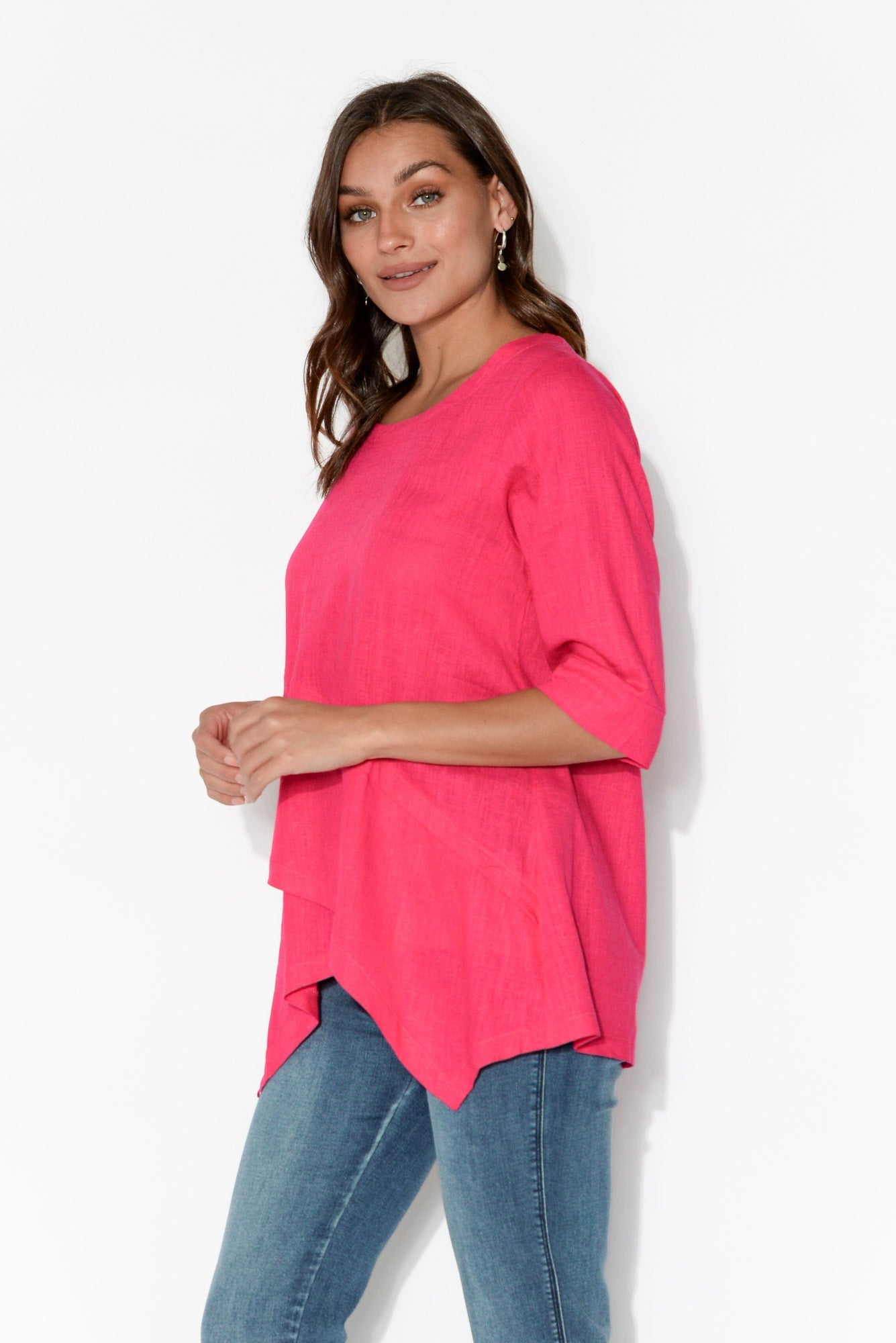 Anya Pink Linen Cotton Top