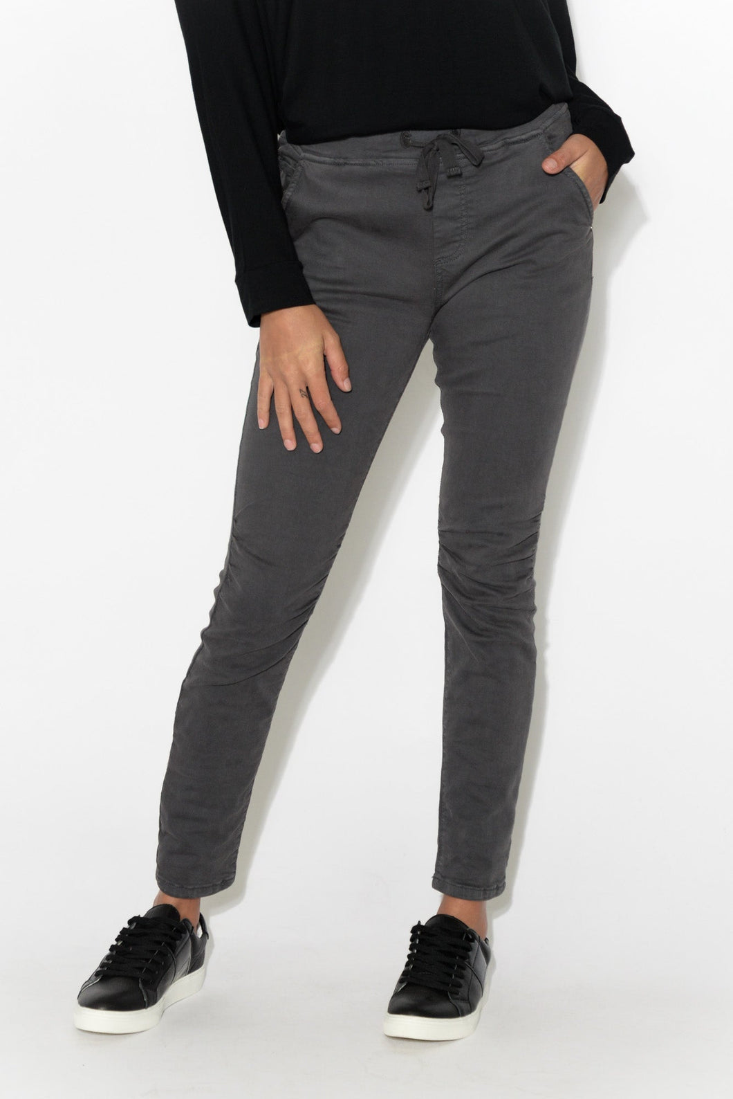 Arden Charcoal Cotton Tie Pant