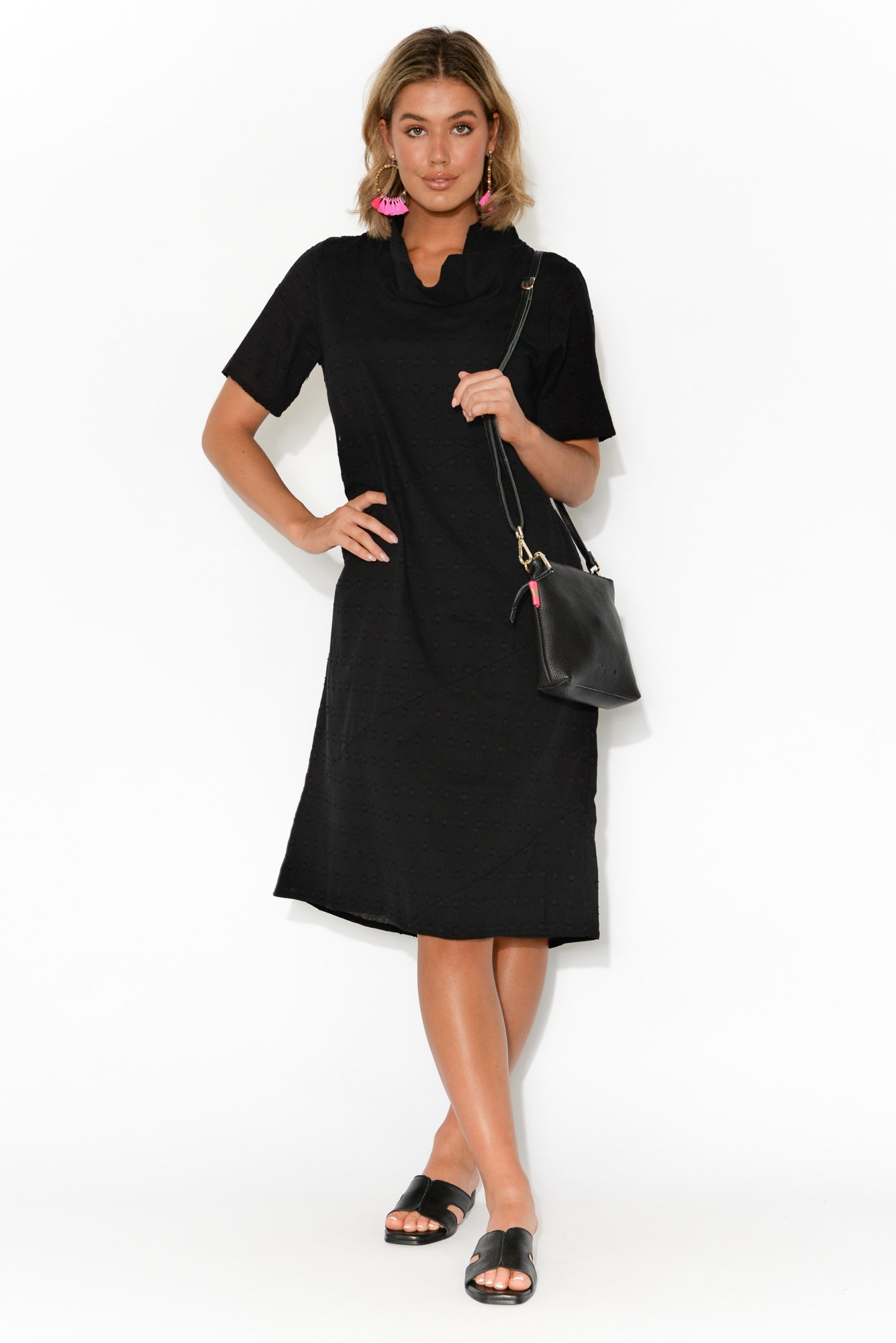 Atara Black Cotton Cowl Neck Dress