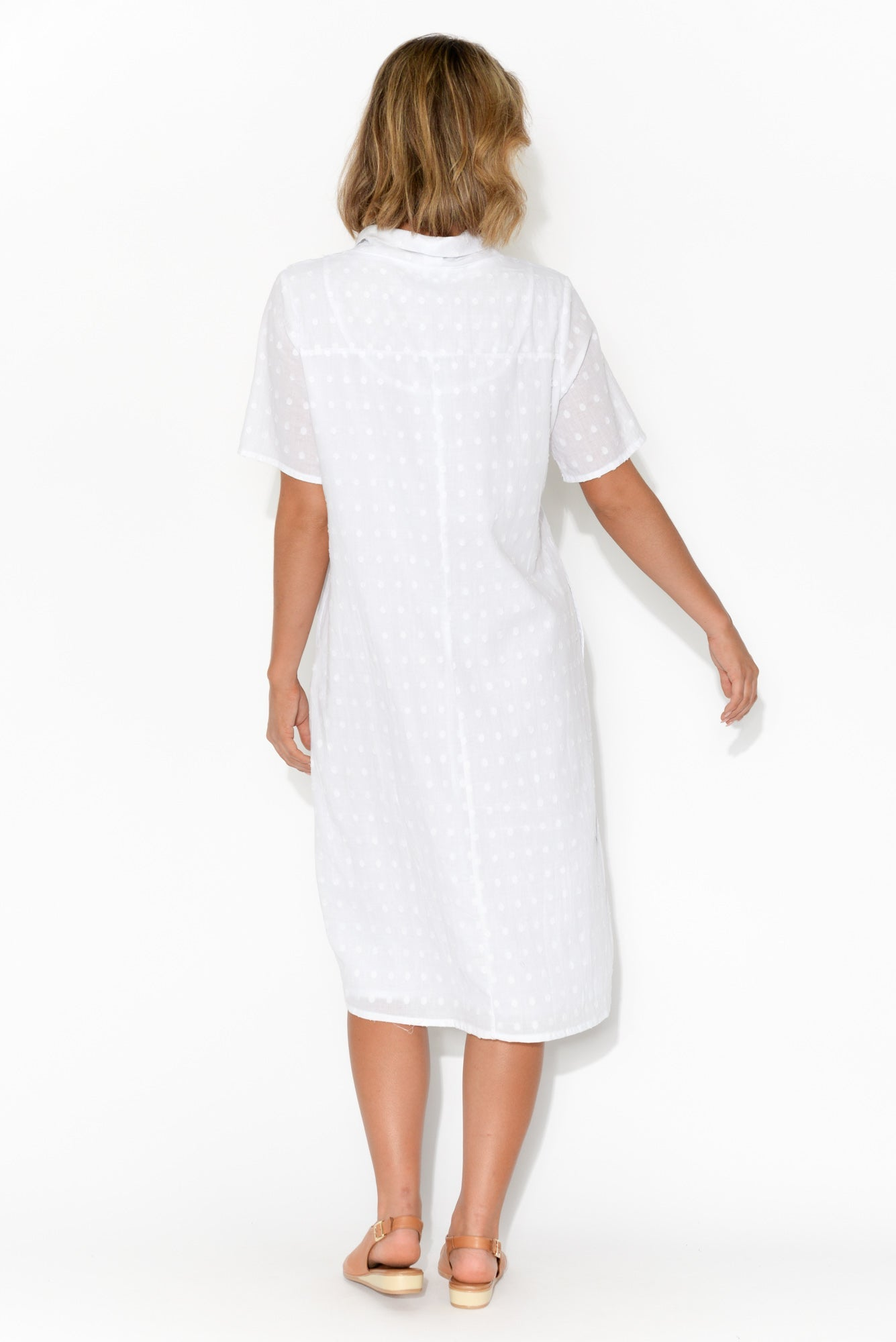 Atara White Cotton Cowl Neck Dress