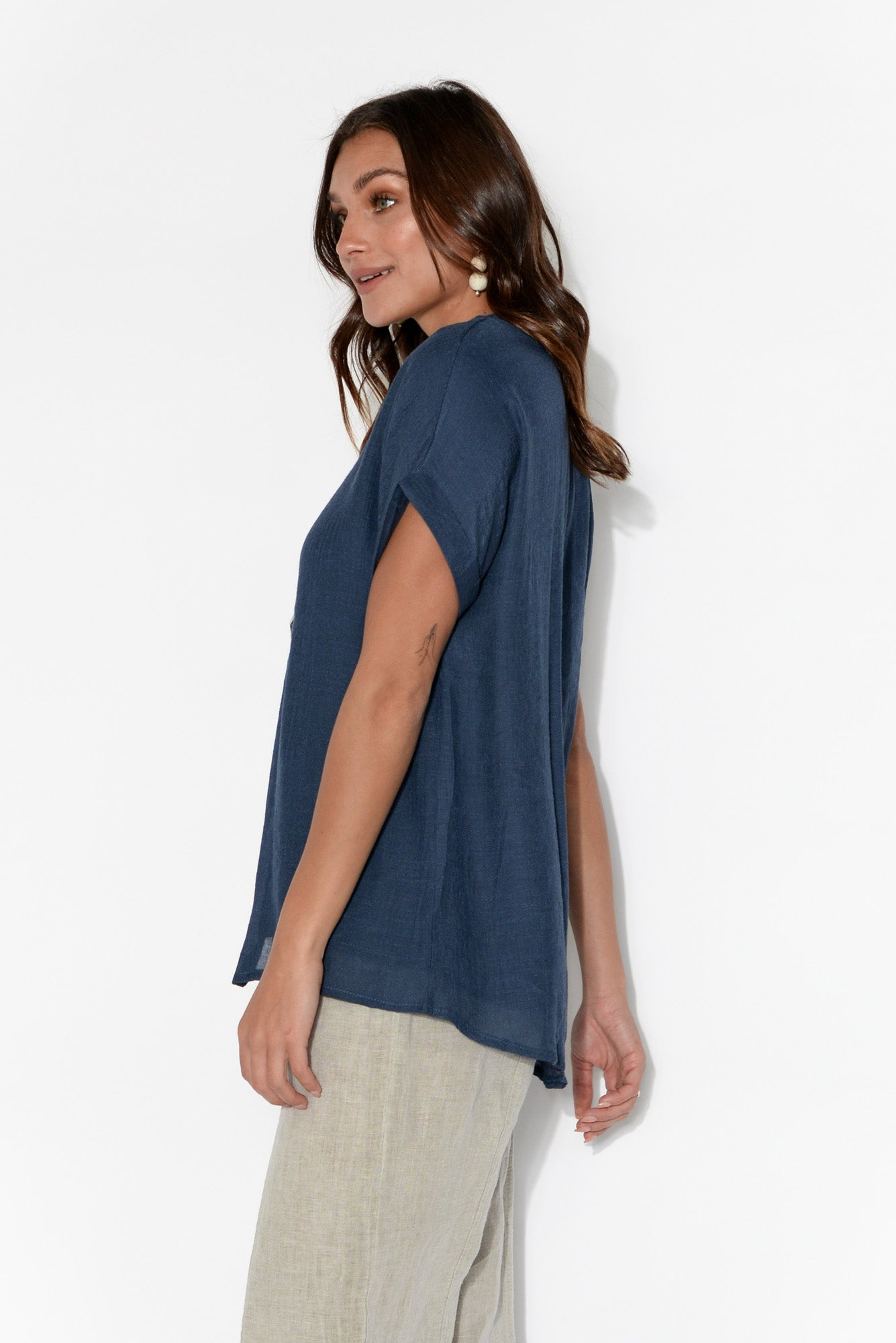Audrina Navy Button Blouse