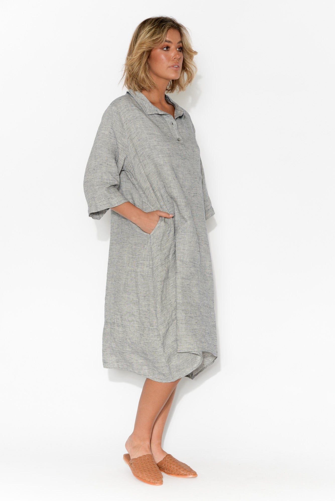 Austen Grey Linen Pocket Dress