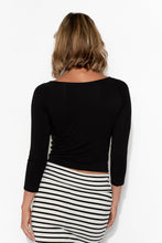 Ava Black Crop Layering Bamboo Top