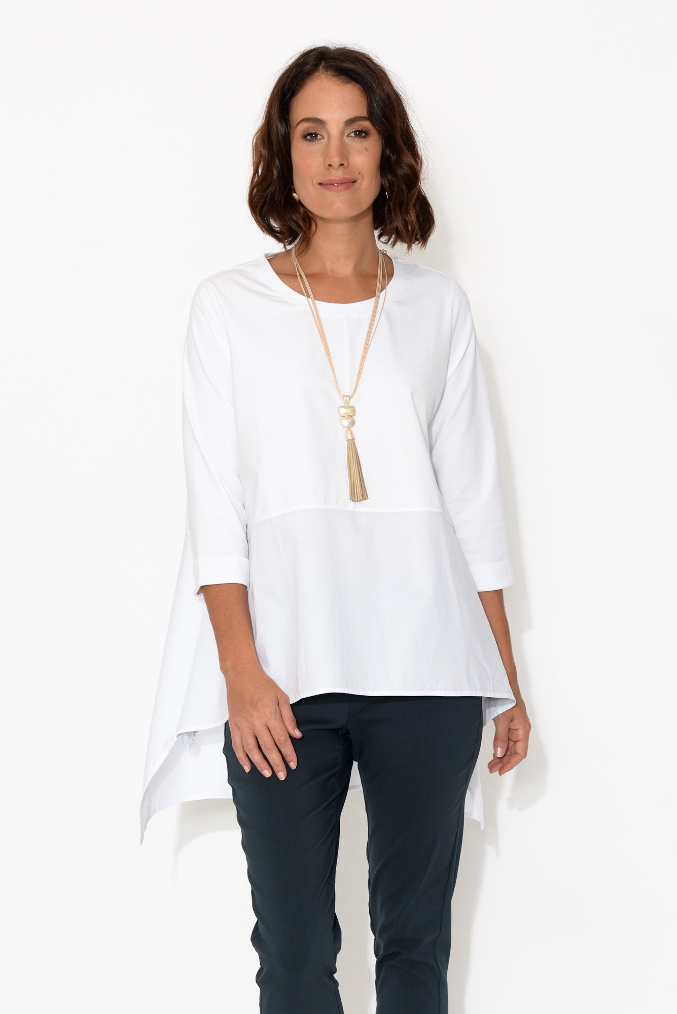 Ava White 3/4 Sleeve Cotton Top