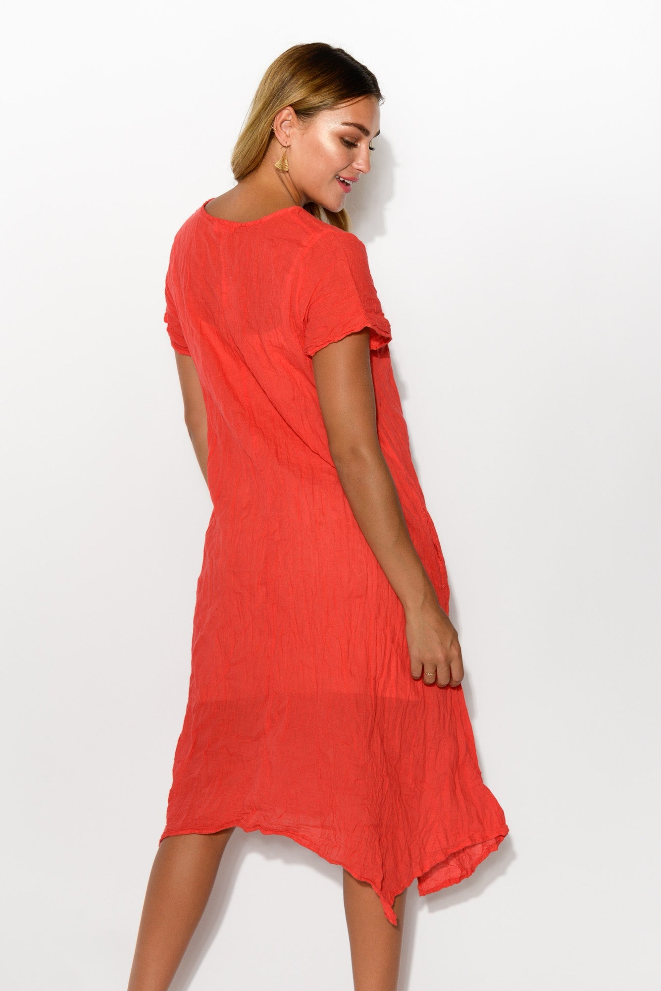 Claire Red Crinkle Cotton Dress - Namastai - Blue Bungalow Online