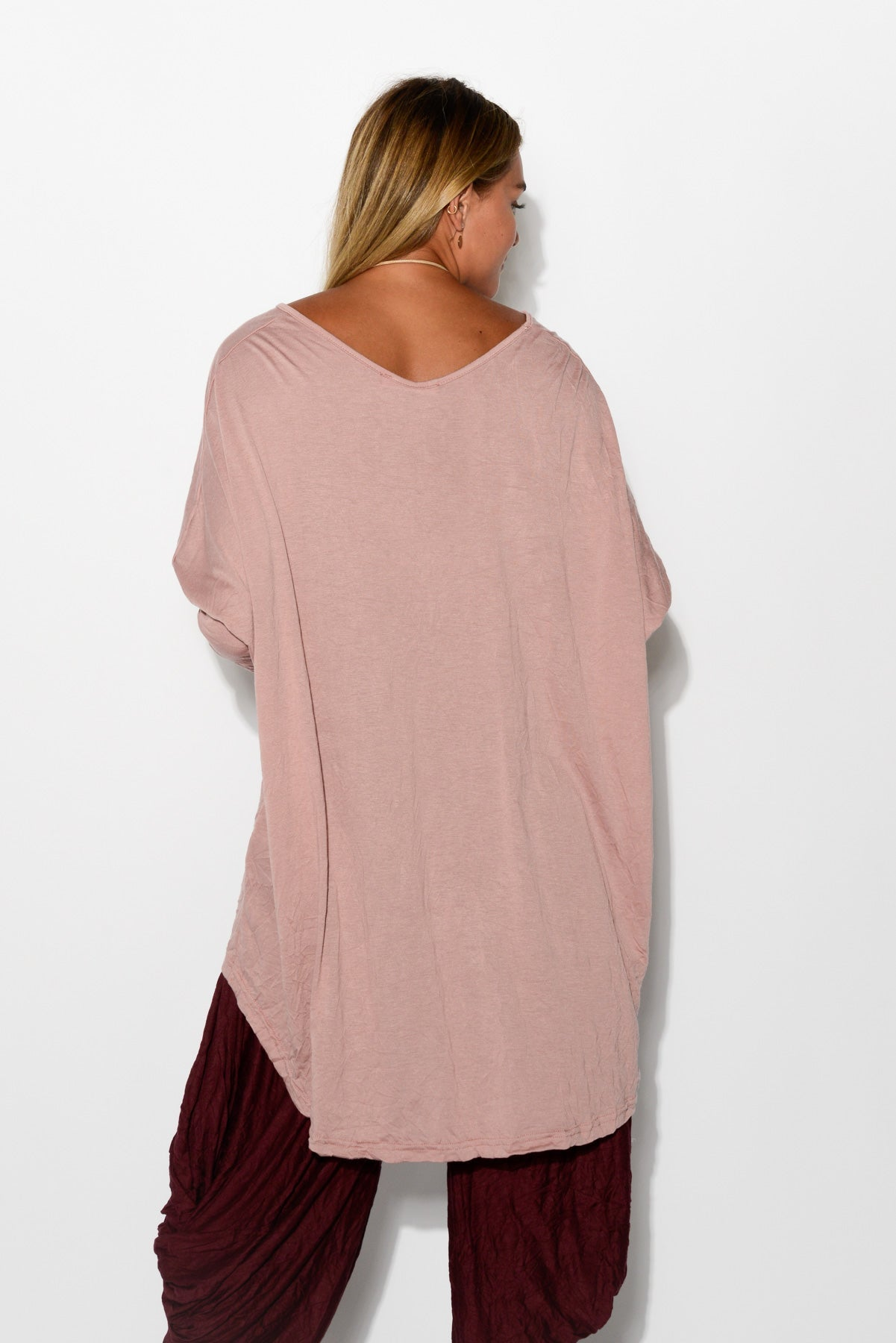 Blush Oversized Cotton Hi Lo Top - Blue Bungalow
