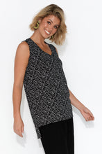 Barbados Black Geo Step Hem Tank