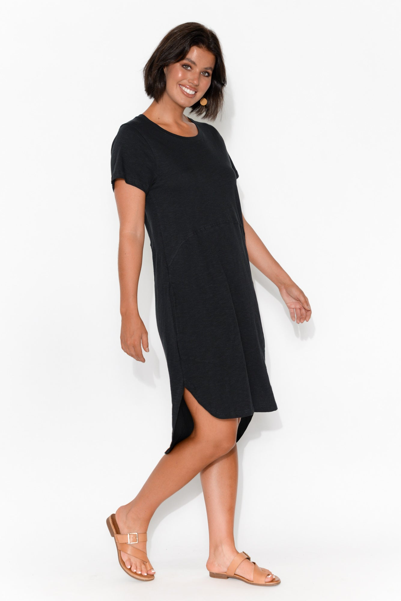 Bayley Black Cotton Tee Dress