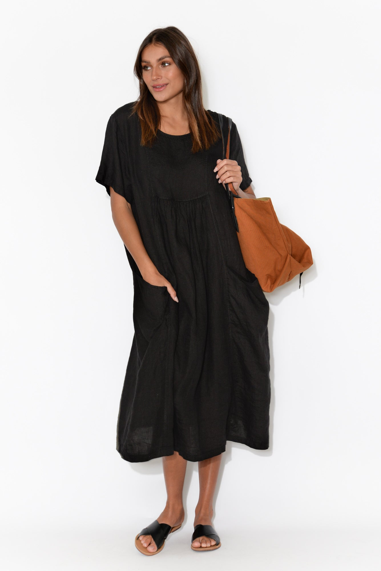 Beckett Black Linen Pocket Dress