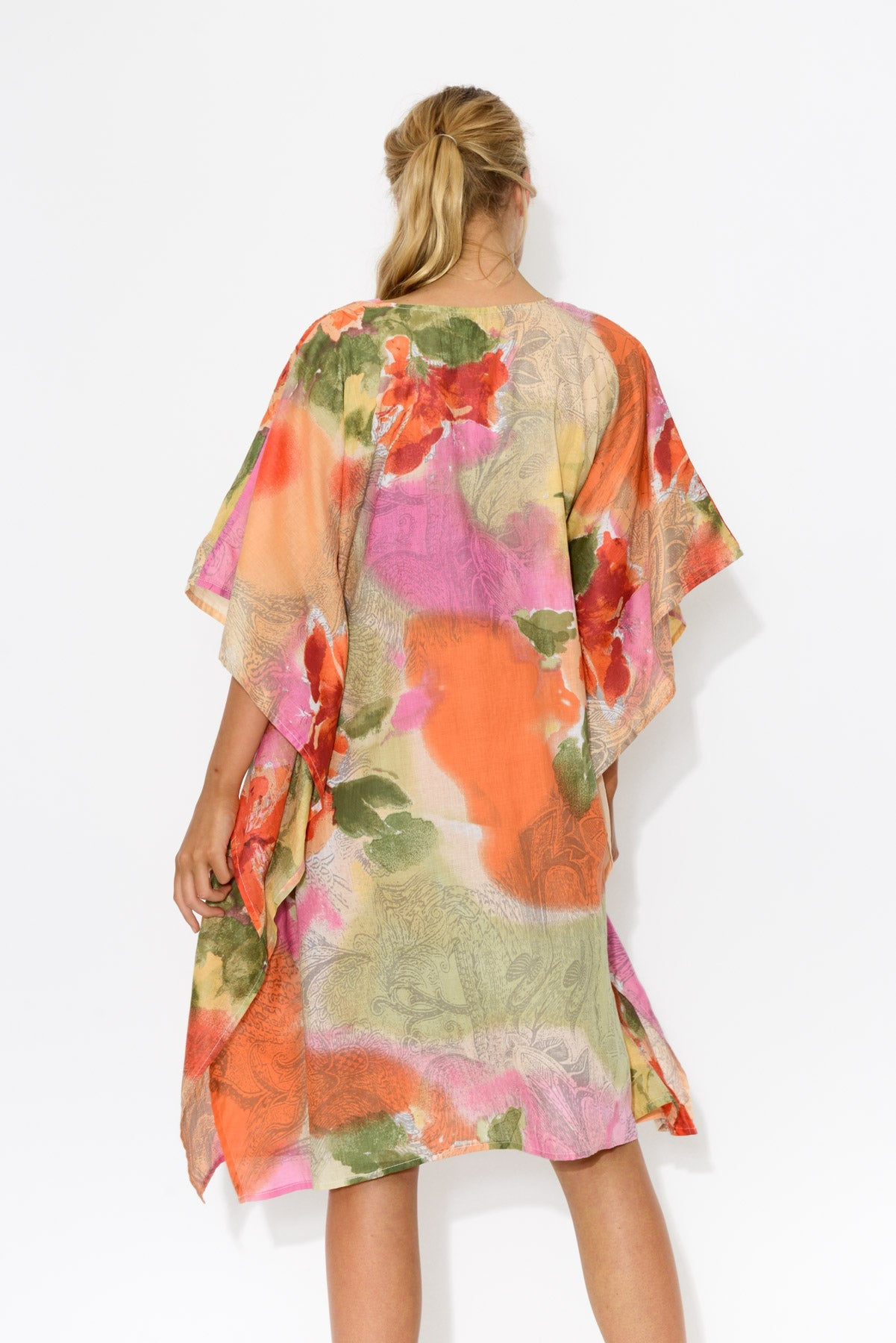 Bedarra Orange Peony Cotton Kaftan - Mozaic - Blue Bungalow Online