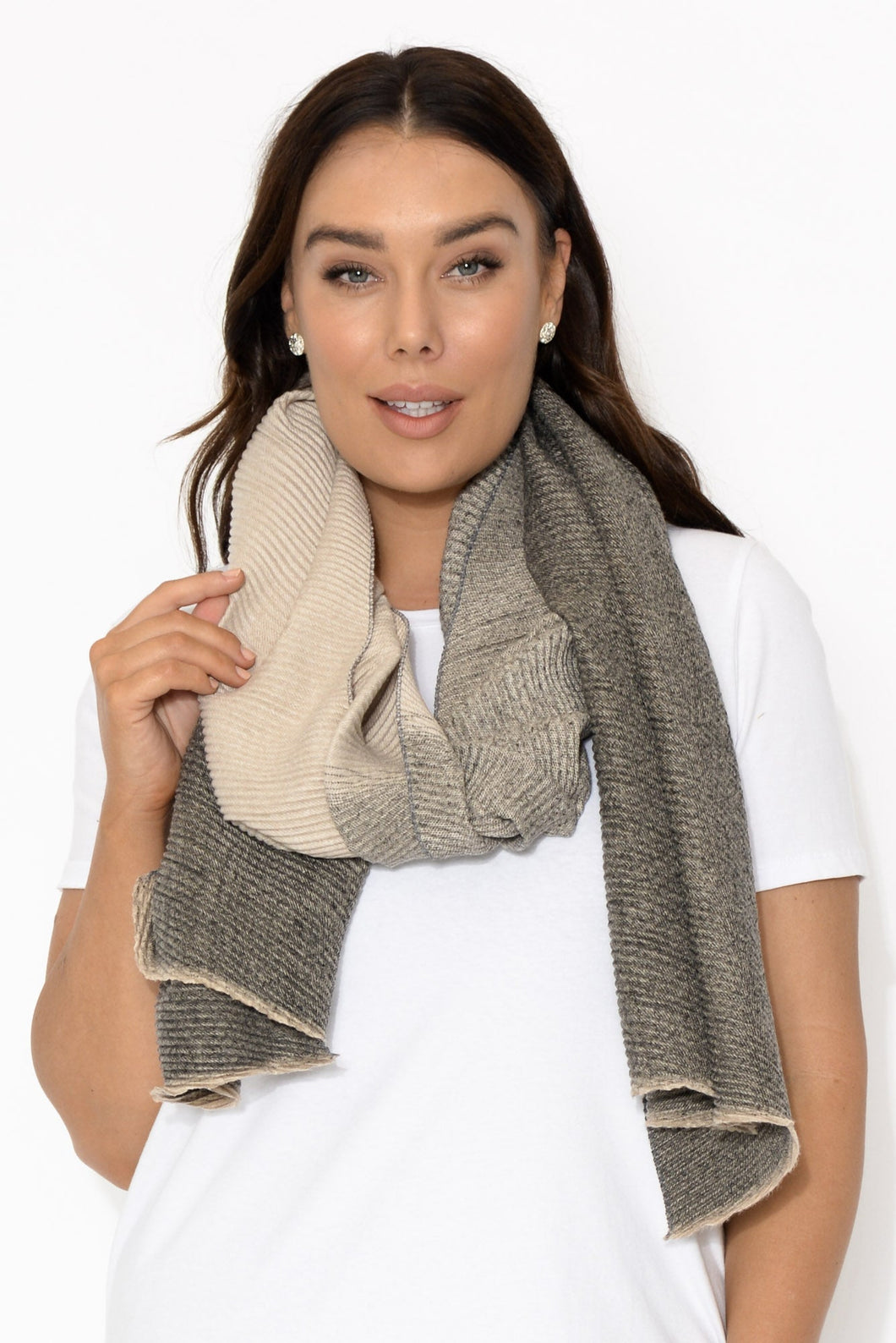 Beige and Grey Zermatt Scarf